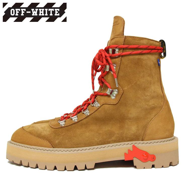 【スーパーSALE 10%OFFクーポン対象商品!】【SALE】OFF-WHITE オフホワイト ブーツ HIKING BOOTS BROWN レッド ハイカット 秋冬 ブラウン 41 42 43
