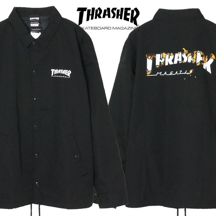 【スーパーSALE 10%OFFクーポン対象商品!】【SALE】スラッシャー THRASHER ジャケット コーチジャケット メンズ レディース 大きいサイズ T/C COACH JACKET TH59219 ブラック M L XL