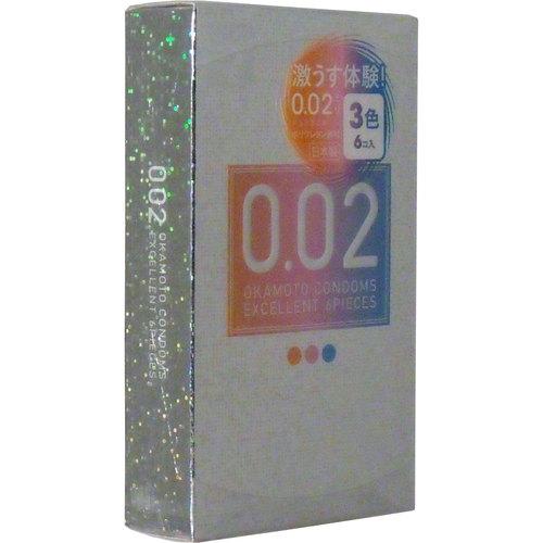 オカモト 제로 제로 투 엑 설 런 트 컬러 3 색 6 개 들이 얇음 동등한 002EX 핑크/블루/오렌지 2 개 들이 (콘돔 피임약) × 144 점 세트 대량 구매 특가! 케이스 판매 (4547691710529)