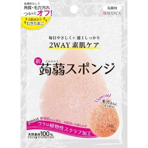 【送料込・まとめ買い×144個セット】BIANKA 洗顔とクレンジングの2WAY・こんにゃくスポンジ ピンククレイ