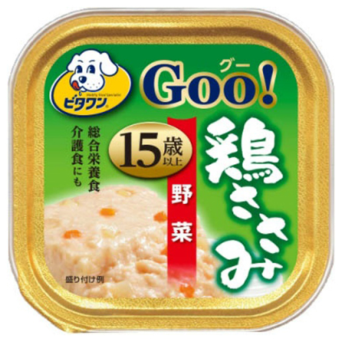 【送料込・まとめ買い×96個セット】日本ペットフード ビタワン グー 鶏ささみ 野菜 15歳以上 90g
