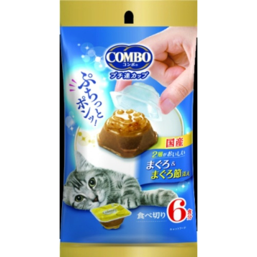【令和・ステイホームSALE】日本ペットフード コンボ キャット プチ連カップ まぐろ&まぐろ節添え 6食分 キャットフード