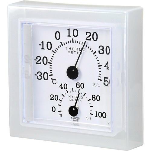 【送料込・まとめ買い×40個セット】クレセル 温湿度計クリア・ミニホワイト CR-12W
