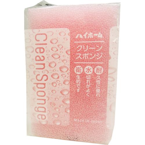 【144個で送料無料】ハイホーム クリーン スポンジ ピンク ×144点セット(台所用品 キッチンスポンジ)(4931546422444)