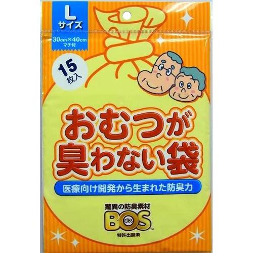 【100個で送料無料】クリロン化成 BOS(ボス) おむつが臭わない袋 大人用 Lサイズ 15枚入り×100点セット (4560224462276)