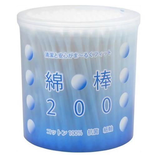 最もポピュラーなレギュラータイプ紙軸綿棒(めんぼう) 平和メディク 綿棒 円筒ケース ( 内容量:200本 ) ( 4976558005537 )