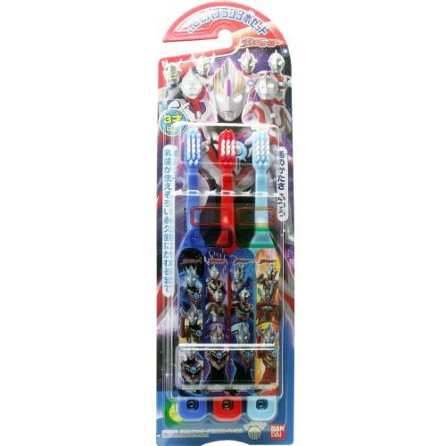【60個で送料無料】バンダイ ウルトラヒーロー こどもハブラシ 3本入り×60点セット(子供用歯ブラシ)(4549660081340)※パッケージ変更の場合あり