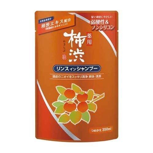 【送料込】熊野油脂 薬用 柿渋 リンスインシャンプー 詰め替え用 350ml×24点セット 弱酸性 ノンシリコン ( 4513574023062 )