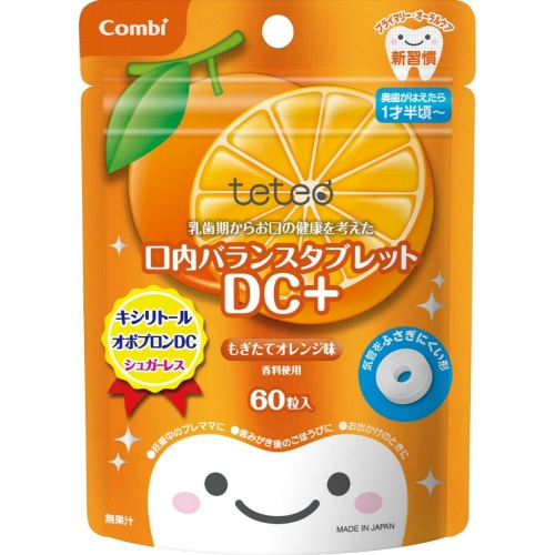 【送料無料・まとめ買い×060】コンビ テテオ 口内バランス タブレット DC+ もぎたてオレンジ味 60粒 ×060点セット(4972990157681)