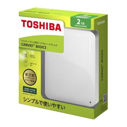 東芝 外付けハードディスク CANVIO BASICS 2TB ホワイト HD-AC20TW(1コ入)