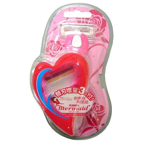 【送料込】フェザー安全剃刃マーメイドホルダー ローズピンク×60点セット まとめ買い特価!ケース販売 ( 4902470443300 )