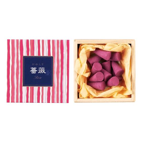 【送料無料・まとめ買い×168】日本香堂 お香 インセンス 「かゆらぎ 薔薇 コーン型12個入」×168点セット(4902125384552)