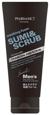 Kumano oils and fats PHARMAACT (ファーマアクト) men's charcoal & scrub face-wash form (capacity: 130G) *48 point set (4513574025332)