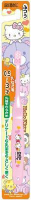 はじめての乳歯を大切に磨くための子供用歯ブラシです 先端の毛はかためなので 奥歯に残った食べかすもしっかり取り除けます モデル着用 注目アイテム 4901221031087 エビス 定番から日本未入荷 ハローキティ 子供用歯ブラシ エビスハブラシ 0.5-3才