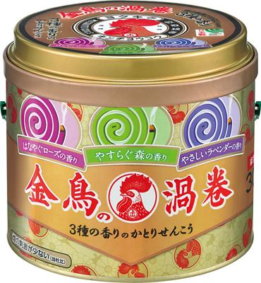 【24個で送料無料】大日本除虫菊 ( 金鳥 ) 金鳥の渦巻 3種の香り ( 内容量:30巻 ) ×24点セット ( 4987115000957 )