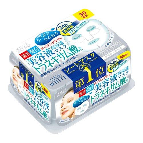 うるおい続く テアニンGL配合うるおいを長時間持続させる高保湿成分配合。水分を肌内部にしっかりとじ込め、キメ細かな肌にととえる ( 美顔フェイスシートパック ) 4971710382037 コーセーコスメポート クリアターンエッセンスマスク 30回分 ( トラネキサム酸 ) 医薬部外品 ( 4971710382037 )