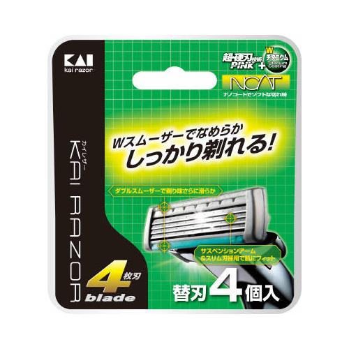 【送料無料】貝印カイレザー 4枚刃 替刃 4個入×144点セット まとめ買い特価!ケース販売 ( 4901331017162 )