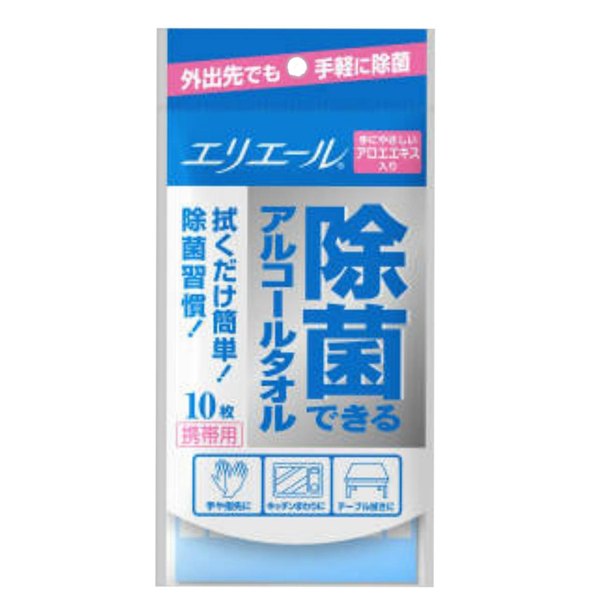 【送料無料】大王製紙 エリエール 除菌できるアルコールタオル携帯用 10枚入×144点セット まとめ買い特価!ケース販売 ( 4902011649215 )