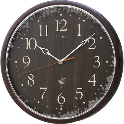 【送料無料】【直送・代引不可・同梱不可】セイコー 報時電波掛時計 濃茶 RX215B