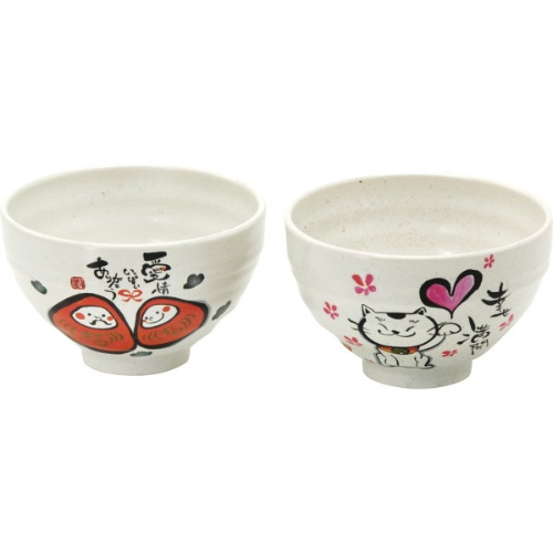 Happy pair boiled rice in tea porcelain bowl HP - 1,031A in full blossom