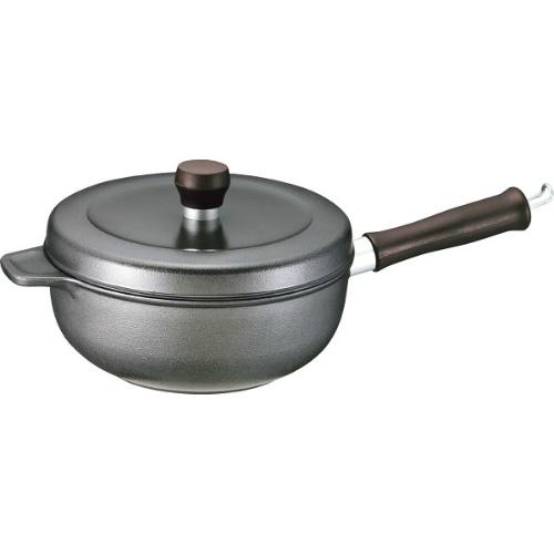 【送料無料】【直送・代引不可・同梱不可】味わい鍋 片手鍋(20cm) ブラック AZK-20IH