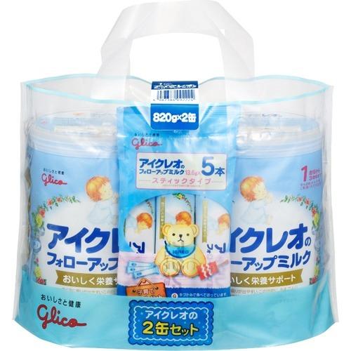 【送料無料・まとめ買い×3個セット】グリコ アイクレオのフォローアップミルク 820g×2缶セット