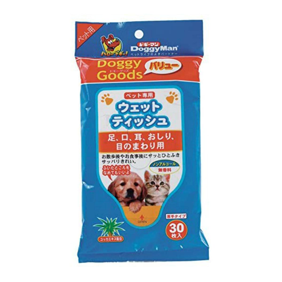 ドギーグッズバリュー ペット専用ウェットティッシュ 賜物 犬 猫用 ノンアルコール 無香料 なめても安心 厚手タイプ 4976555942088 30枚入 ウェットティッシュ 高級な ドギーマン ペット専用