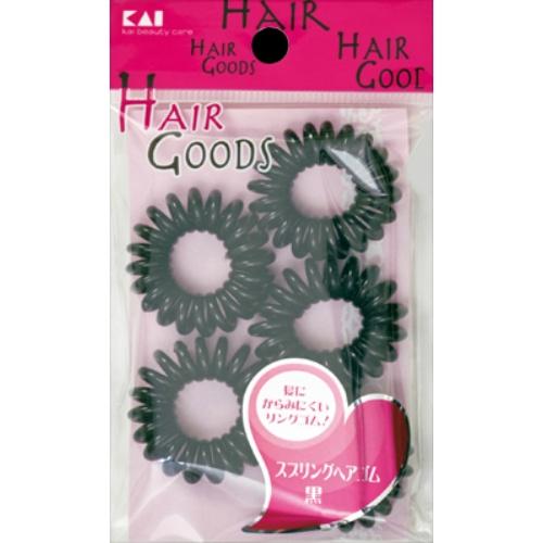 【送料込·まとめ買い×480】貝印 HAIR GOODS スプリングヘアゴム 黒 5個入り  ×480点セット(4901601281477)