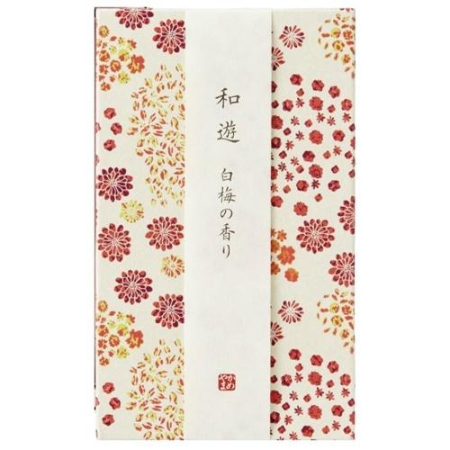 【送料無料・まとめ買い×040】カメヤマ 和遊 白梅の香り 平箱 約130g お線香×040点セット(4901435806693)