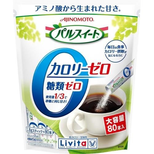 カロリーゼロ・糖類ゼロの低カロリー甘味料/4987306048850/ 大正製薬 パルスイートカロリーゼロ スティック 1.8g×80本入