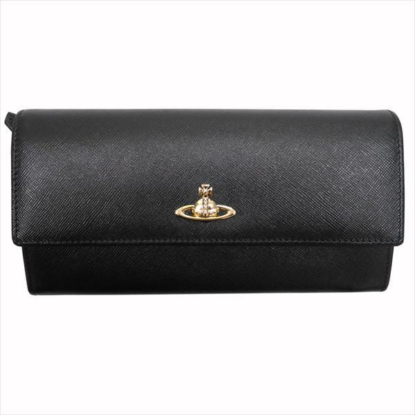 Vivienne Westwood ヴィヴィアン・ウェストウッド 財布サイフ NO,8 OPIO SAFFIANO 二つ折り長財布 32.1405 BLACK 17SS ブラック