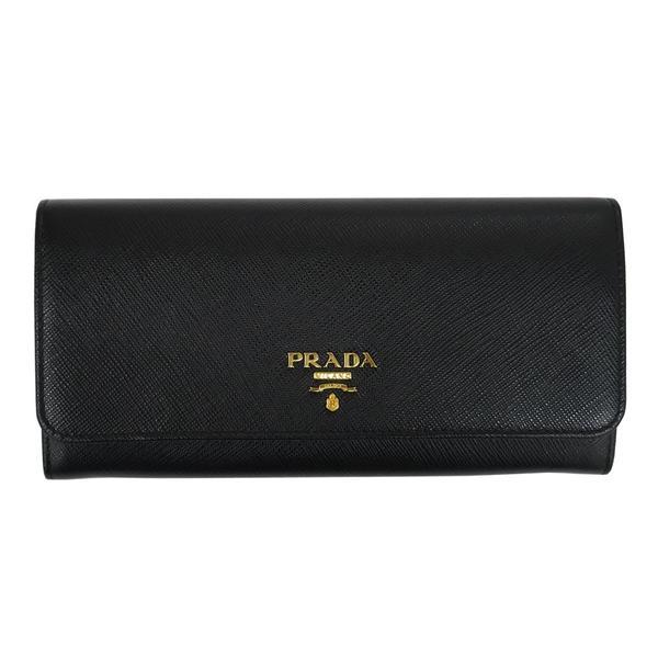 PRADA プラダ 財布サイフ サフィアーノ パスケース付き 二つ折り長財布 ブラック 1MH132 F0002 NERO QWA SAFFIANO METAL ORO