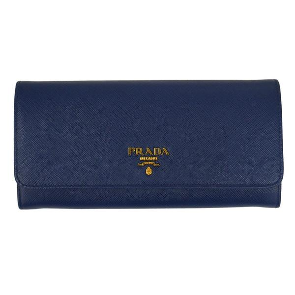 PRADA プラダ 財布サイフ サフィアーノ パスケース付き 二つ折り長財布 ブルー 1MH132 F0016 BLUETTE QWA SAFFIANO METAL ORO