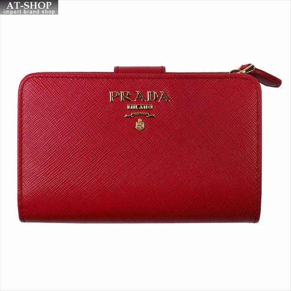 PRADA プラダ 財布サイフ サフィアーノ 二つ折り財布 1ML225 F068Z / FUOCO QWA / SAFFIANO METAL レッド