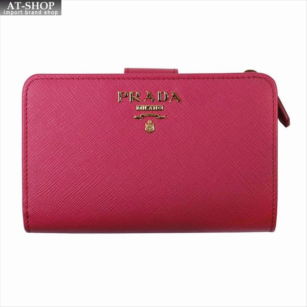 PRADA プラダ 財布サイフ サフィアーノ 二つ折り財布 1ML225 F0505 / PEONIA QWA / SAFFIANO METAL ピンク