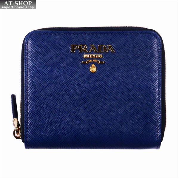 PRADA プラダ 財布サイフ サフィアーノ 二つ折り財布 1ML036 F0016 / BLUETTE QWA / SAFFIANO METAL ブルー