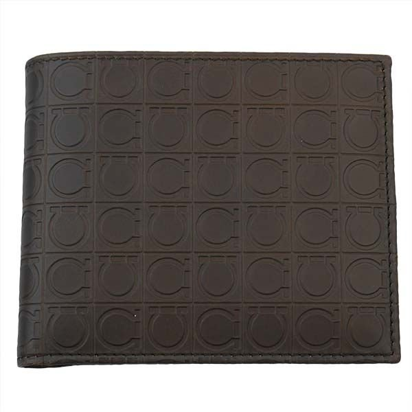 FERRAGAMO サルヴァトーレ フェラガモ 財布サイフ 二つ折り財布 66-9685-02-572515 ブラウン×ベージュ