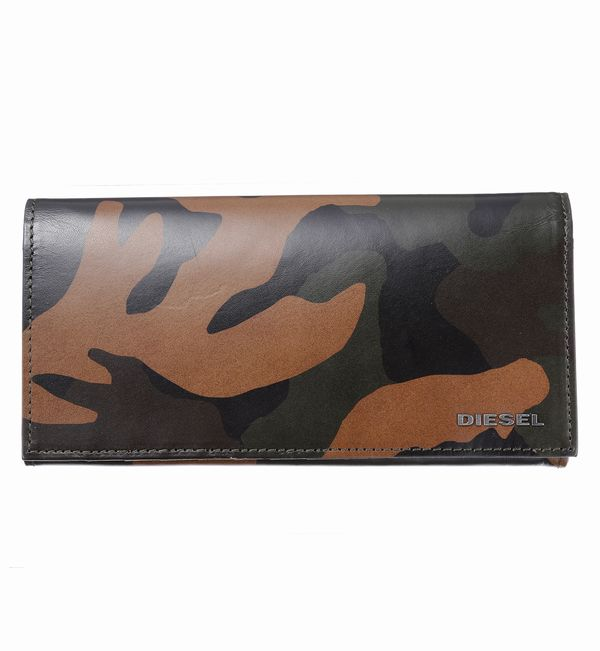 【あす楽】DIESEL ディーゼル 財布サイフ 二つ折り長財布 X04129 P1074 H5477 Camouflage/Black