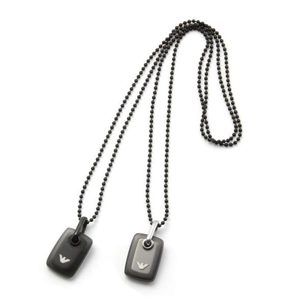 【あす楽】EMPORIO ARMANI エンポリオアルマーニ ネックレス イーグルロゴ 樹脂製メダル付 リバーシブル ペンダント EGS2017001