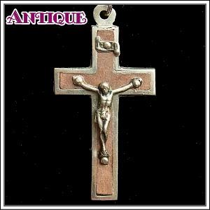 【中古】【未使用品アンティーククロス】ブラウン象嵌ルルド巡礼記念 キリストクロス十字架 真鍮チェーン付きネックレス *