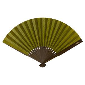 【当店は4980円以上で送料無料】大風量扇子 格子柄・抹茶 3個セット