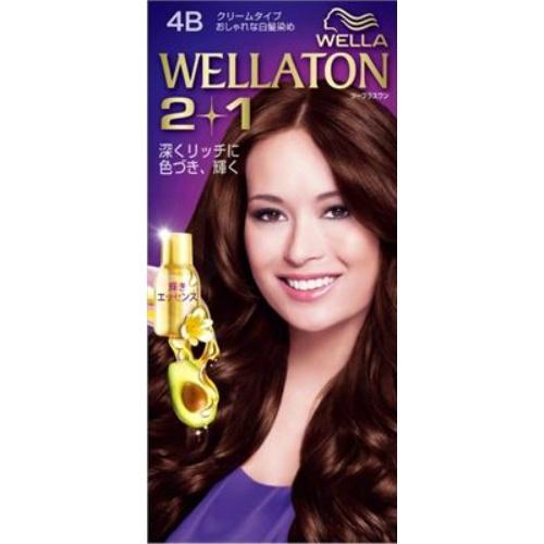 【送料込・まとめ買い×24個セット】 ウエラ Wella ウエラトーン ツープラスワン 2+1 クリームタイプ 4B 1セット