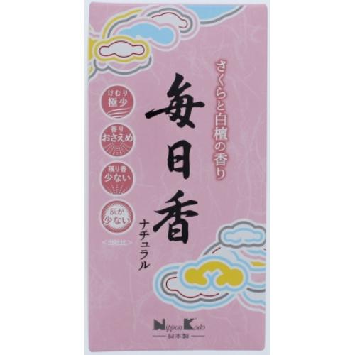 【送料無料・まとめ買い×60個セット】日本香堂 毎日香 ナチュラル さくらと白檀の香り 110g 1個