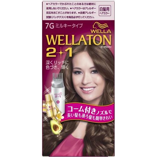 【送料無料・まとめ買い×24個セット】ウエラ (WELLA) ウエラトーン ツープラスワン (2+1) ミルキー EX7G 白髪用ヘアカラー 1個