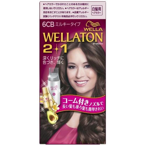 【送料無料・まとめ買い×24個セット】ウエラ (WELLA) ウエラトーン ツープラスワン (2+1) ミルキー EX6CB 白髪用ヘアカラー 1個