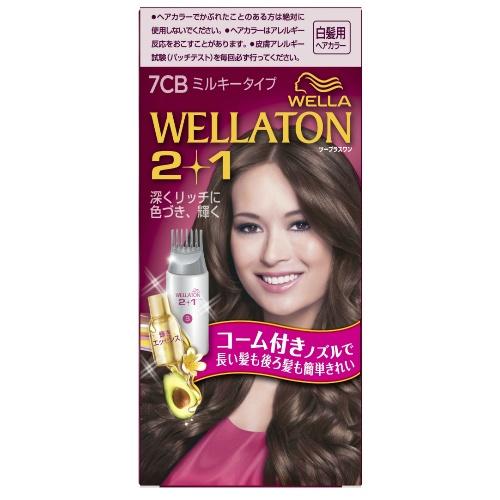 【送料込・まとめ買い×24個セット】ウエラ (WELLA) ウエラトーン ツープラスワン (2+1) ミルキー EX7CB 白髪用ヘアカラー 1個