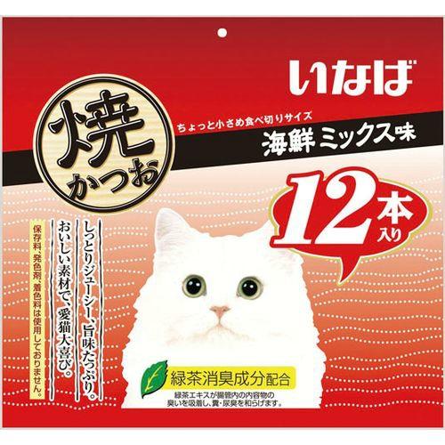 【送料込・まとめ買い×12個セット】いなば 焼かつお 12本入り 海鮮ミックス味(1セット) 1個