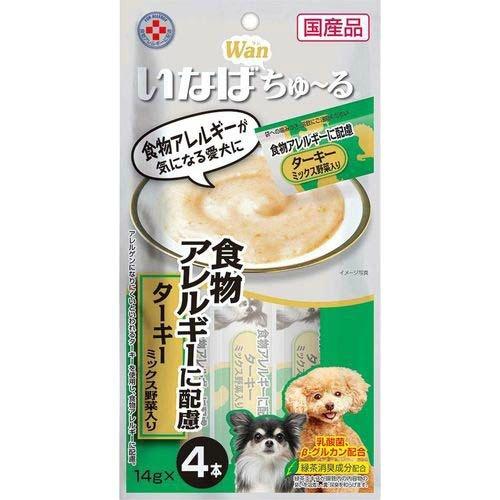 【送料込・まとめ買い×48個セット】いなば Wan ちゅ~る 食物アレルギーに配慮 ターキー ミックス野菜入り 14g×4本 1個