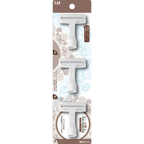 【送料込・まとめ買い×144個セット】貝印 biーhada ompa T 替刃 3個入 フェイス用カミソリ 1個