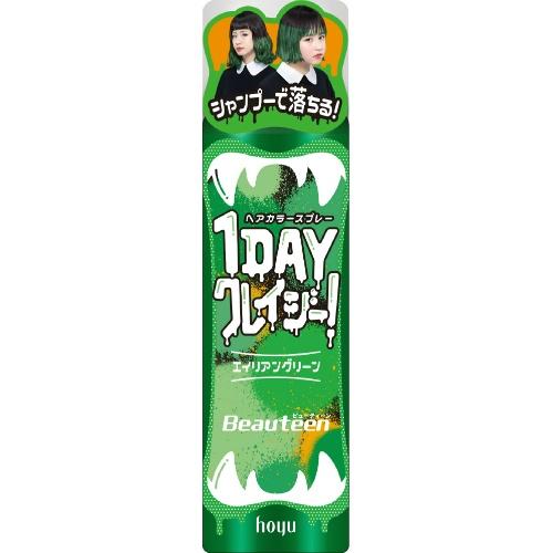 【送料込・まとめ買い×30個セット】ホーユー hoyu ビューティーン 1DAY クレイジー! エイリアングリーン 35g ヘアカラー 1個